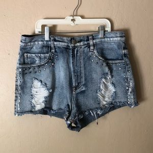Forever 21 Distressed Studded Shorts
